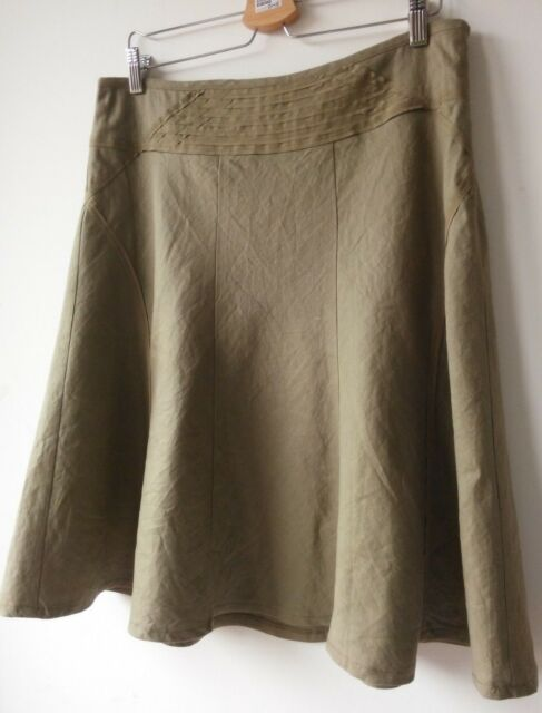 MEXX SKIRT A line flare khaki linen cotton summer casual UK14 VGC
