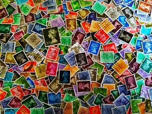 GB UK Great Britain Off Paper Machin Definitive 200 pcs Stamps Collection Lot