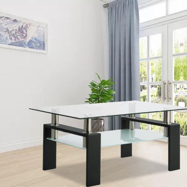 Modern Simple Wood Coffee Table Tea Desk Shelf Rectangular Living Room Furniture For Sale Online Ebay