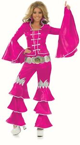 Ladies-70-039-s-Dancing-Queen-Pink-fancy-dress-costume-Music-Mamma-Mia-Outfit-Flares