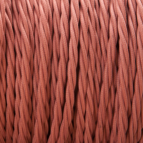 Rose Pink Twisted Braided Fabric Cable 3-Core 0.5mm for lighting