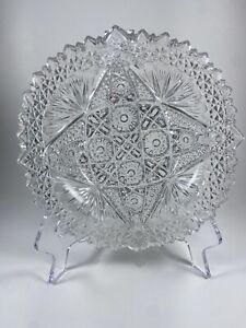 VINTAGE HEAVY CRYSTAL CLEAR GLASS DIAMOND STAR  CIGARETTE ASHTRAY