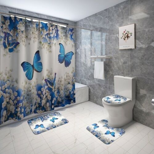 Butterfly Flower Bathroom Shower Curtain Set Mats Rugs Carpets Toilet Lid Cover