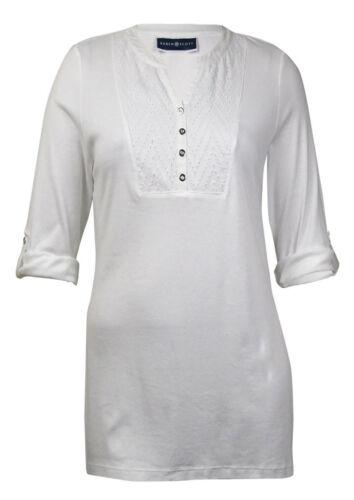 Karen Scott Women/'s Roll-Tab Crochet Detail Cotton Henley Bright White X-Large