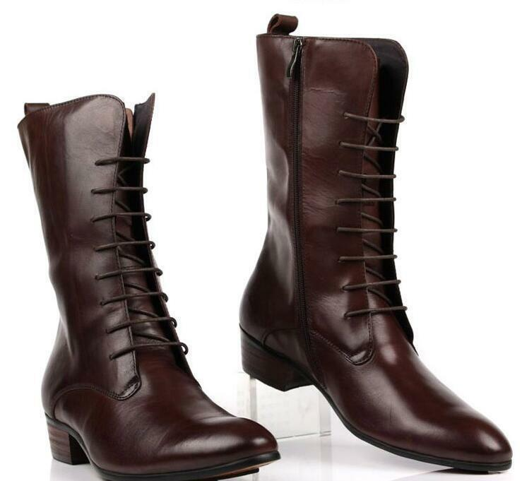 H Men Calf Boots Leather Knight Boots lace up Cuban Heel Zip Pointy Toe casual