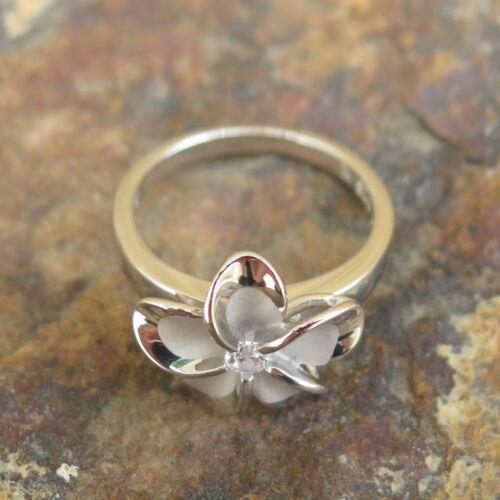 Womens 925 Silver Two Tone Rhodium Plumeria CZ Wedding Ring Band 15mm #SR2048