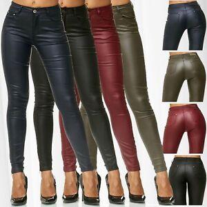 Senora-pantalones-de-cuero-Biker-Pants-treggings-tubo-de-piel-sintetica-pantalones-Skinny-simil