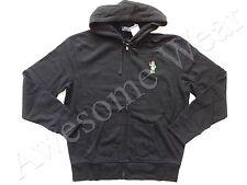 New Ralph Lauren Polo Black Teddy Bear Fleece Zip Up Cotton Hoodie Jacket sz L