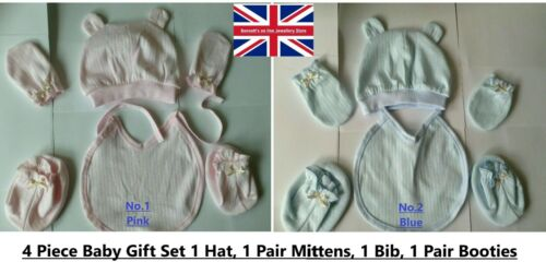1 Pair Booties /& 1 Pair Mittens Bib 4 Piece Baby Boy /& Girl Baby Gift Set Hat