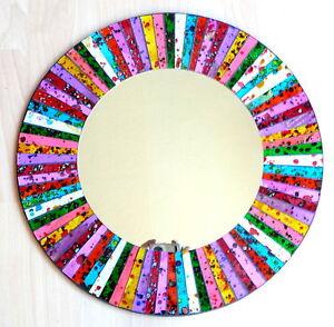 Mosaik-Spiegel-Dekospiegel-Wanddekoration-Einlegearbeit-Handarbeit-40cm