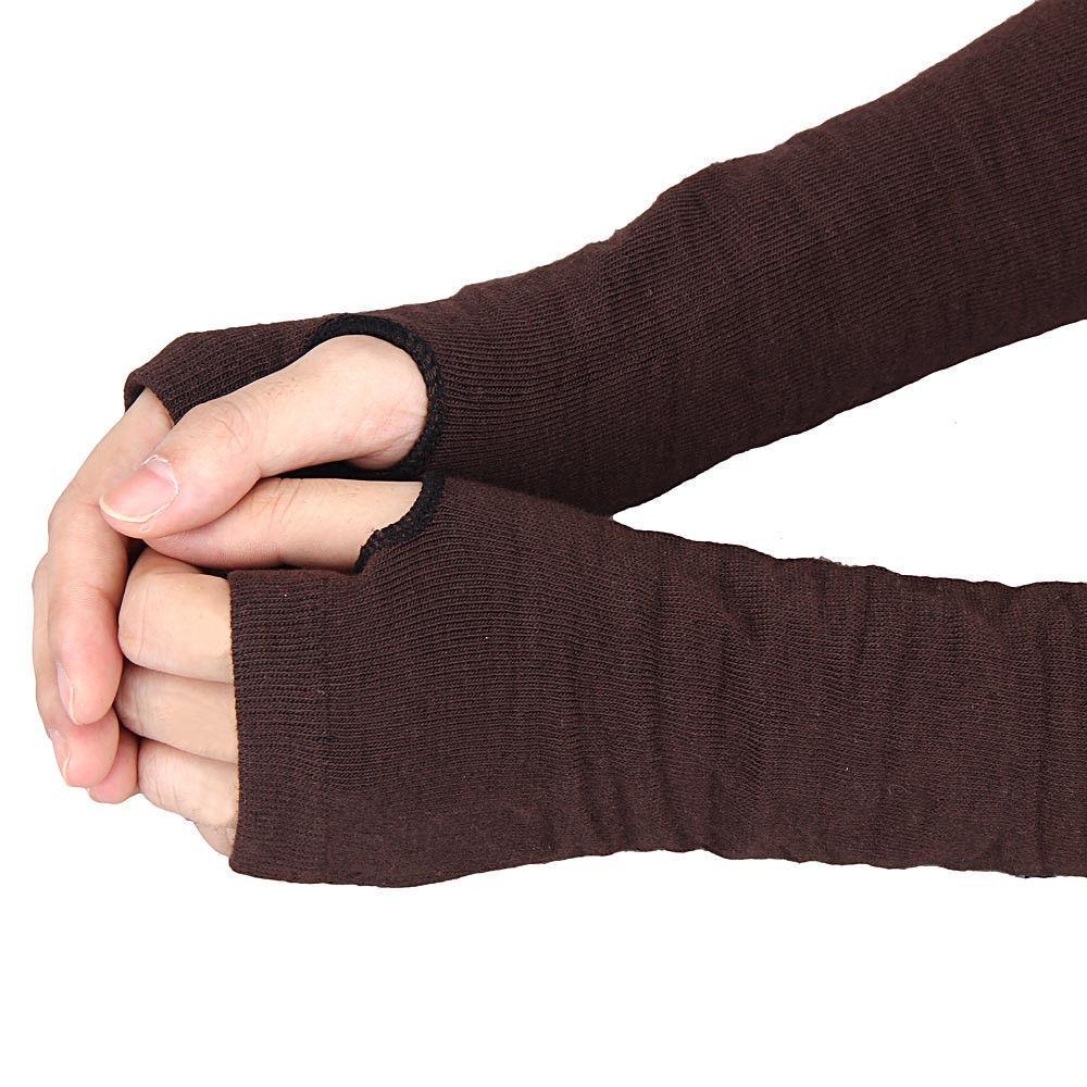 Unisex Winter Long Fingerless Knit Wool Gloves Warm Wrist