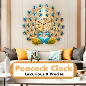 AUGIENB-Luxury-Peacock-Wall-Clock-Diamond-Vintage-Design-Metal-Clocks