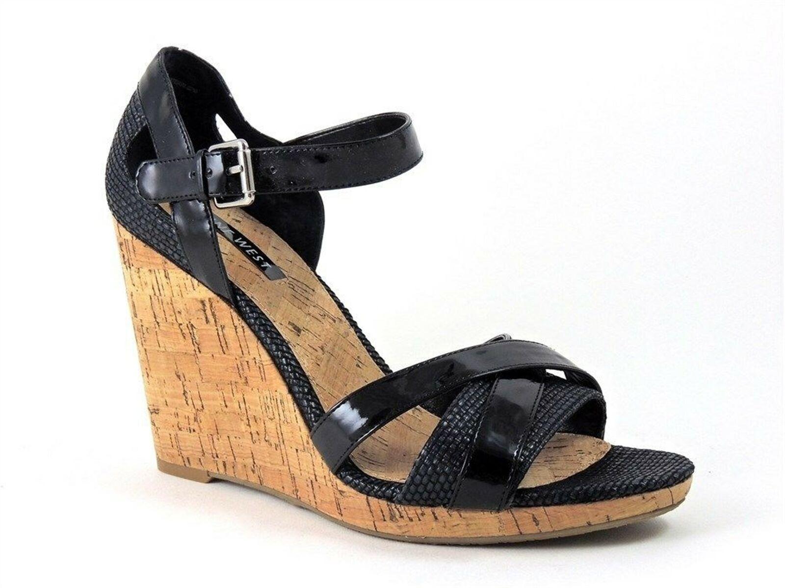 Nine West Women's Birthday Bdayo Wedge Sandals Black Size 10 M