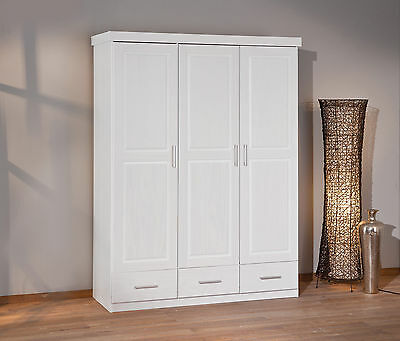 Armoire penderie dressing rangement chambre campagne 3 portes pin massif BLANC