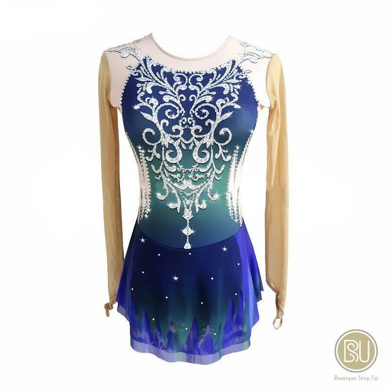 Competition Figure Skating Dress Blau Ombre Sleeveless