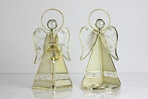 2-Seltene-Tiffany-Glas-Leuchter-Teelicht-Halter-Vintage-Engelchen