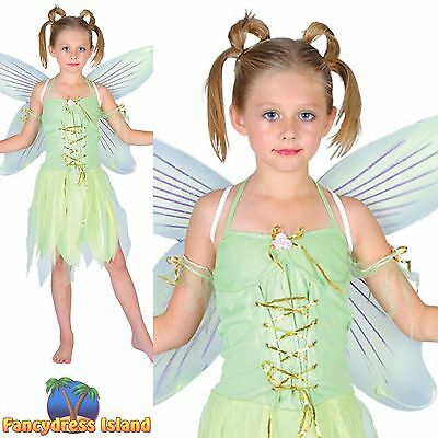 NEVERLAND FAIRY TINKERBELL NYMPH IMP Age 3-10 Girls Childs Fancy Dress Costume