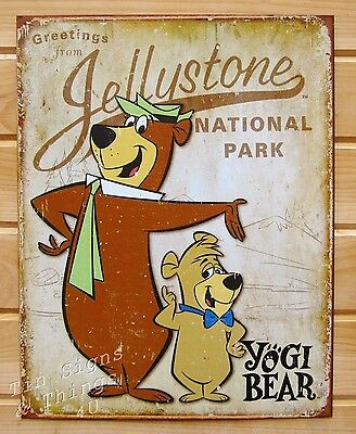 Yogi and Boo Bear TIN SIGN metal poster vtg retro cartoon kids room decor 1875