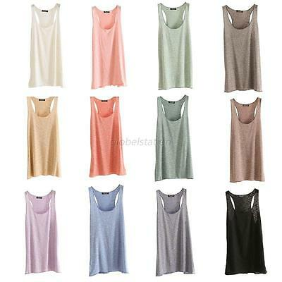Fashion Womens U-Neck Vest Summer Loose Sleeveless Tank T-Shirt Tops Blouse Tee