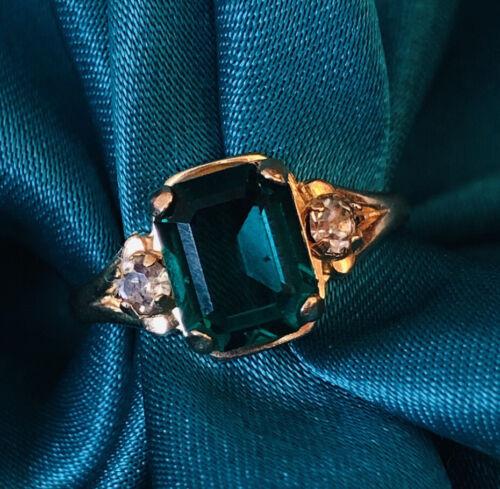 10k Gold Emerald Ring Victorian Vintage Green Ring