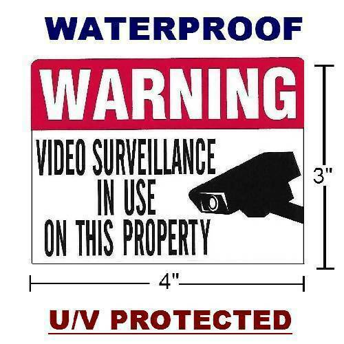 7 Security Camera Stickers Decal signs For Home Store Video Windows Alarm System