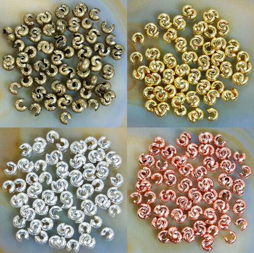 Wholesale 100 Pcs 4MM Silver Gold Plated End Crimp Beads Knot Covers Finding