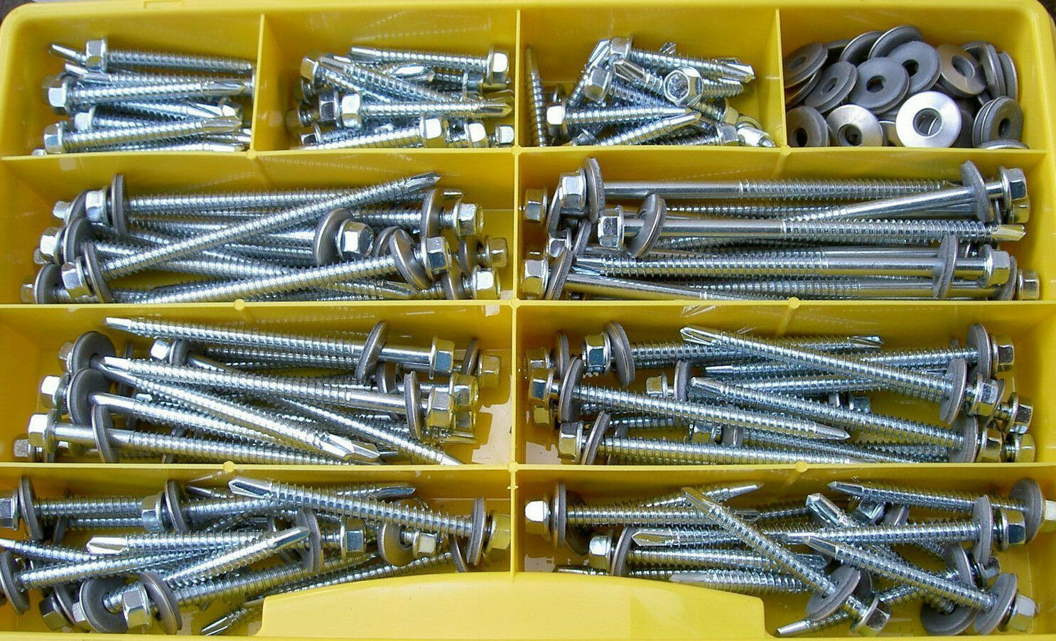 150 Teile Bohrschrauben Sortiment Box Din 7504 K Epdm Dichtscheiben V2A
