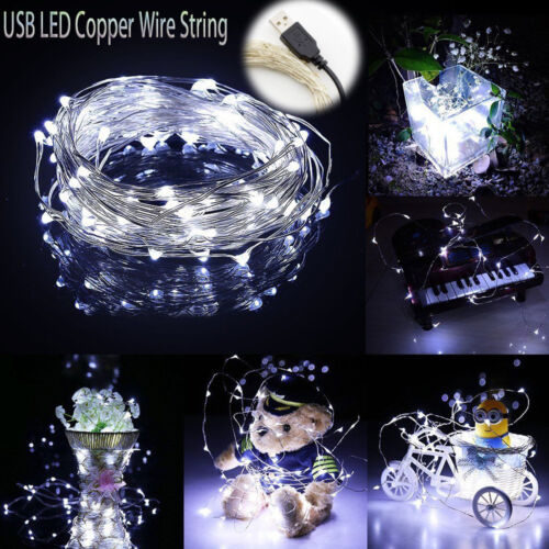 1//5//10M USB LED Copper Wire String Fairy Light Strip Lamp Xmas Party Waterproof