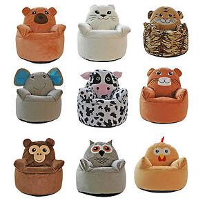 Image Is Loading Kids Animal Design Armchair Beanbag Indoor Bedroom Pillow