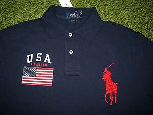 125-Custom-Fit-M-POLO-RALPH-LAUREN-Navy-Mesh-BIG-PONY-amp-USA-FLAG-Polo-Shirt