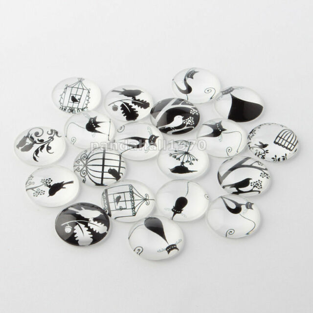 10pcs 10/12/16/20/25mm Round Dome Retro Black and White Picture Glass Cabochons