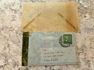 Vintage-Postage-Envelope-1942-Chile-to-New-York-City-Rare-Marks-Stamps