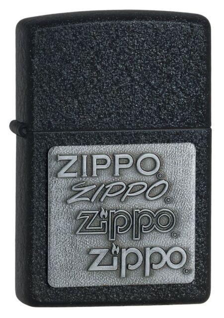 Zippo 363, Pewter Emblem, Black Crackle Finish Lighter, Full Size