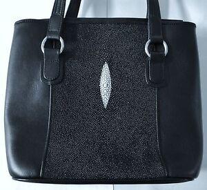 Image Is Loading Stingray Handbag Black Leather Purse Genuine
