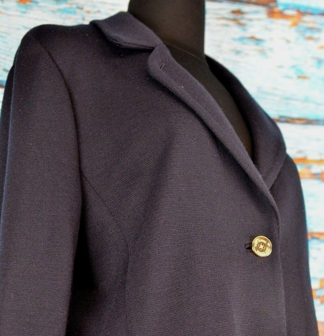 Tory Burch Women's Blazer Size Large Wool Blend Career Two Button Classic Accent