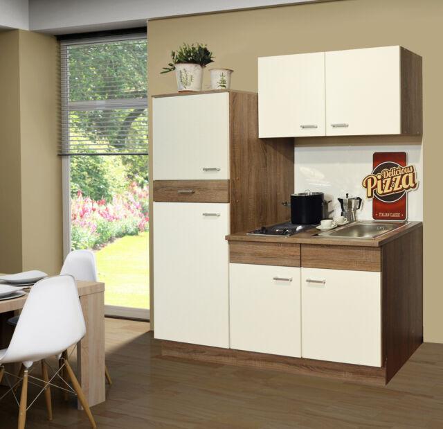 SINGLEKÜCHE Pantryküche Kühlschrank Kochplatten Mini Küche 160 cm + Armatur  NEU