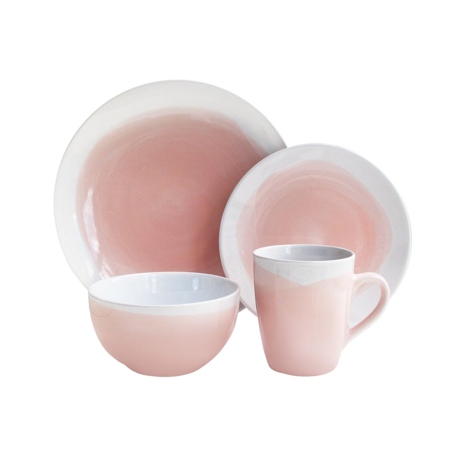 Rose Brushstroke Dinnerware Set 16 Piece DESSERT 4 Place Vaisselle Bols Tasses Assiettes