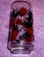 """REPLACEMENT  Vintage Holly Wreath Drinking Tumbler/Glasses 5 3/4"""" TALL"""