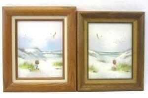 Lot Of Two Children Playing In The Sand On the Beach Paintings Signed Marin
