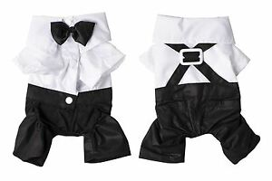 Cute-Dog-Pet-Puppy-Clothes-Tuxedo-Shirt-Suit-Bow-Tie-Stylish-Wedding-Apparel-New