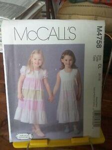 Oop-Mccalls-Ruffles-amp-Lace-4758-girls-summer-dress-tiered-skirt-sz-6-8-NEW