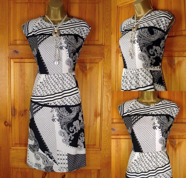 NEW WHITE STUFF IVORY BLACK ABSTRACT PAISLEY SUMMER TUNIC DRESS UK SIZE 8 & 10