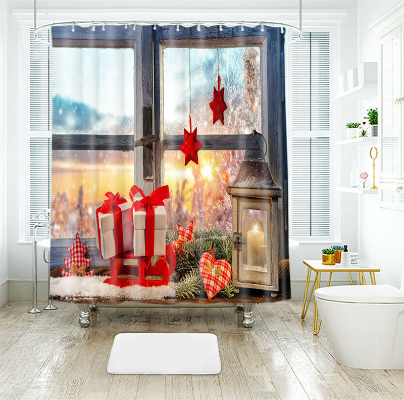 3D  Christmas Xmas 13 Shower Curtain Waterproof Fiber Bathroom Windows Toilet