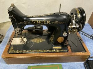 VINTAGE-1949-SINGER-SEWING-MACHINE-IN-BENTWOOD-CASE-USED