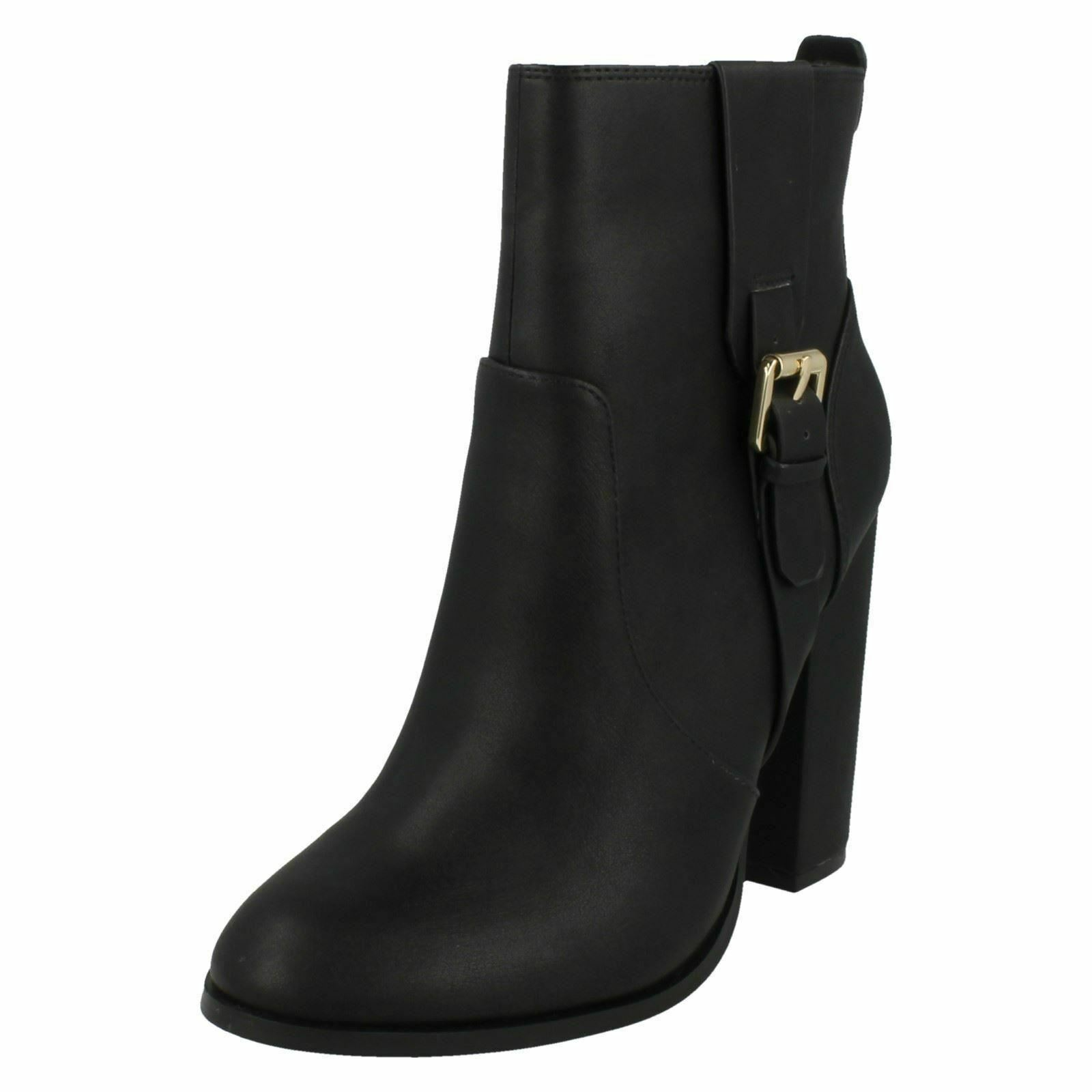 LADIES ANNE MICHELLE HIGH HEEL ZIP BUCKLE STRAP TROUSER ANKLE BOOTS F50648 SIZE