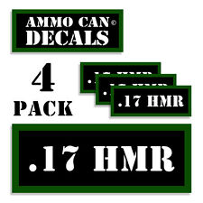 """17 HMR Ammo Can 4x Labels for Ammunition Case 3"""" x 1.15"""" stickers decals 4 pack"""