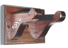 Walnut Guitar Hanger Wall Mount Display with Silver Treble Clefs