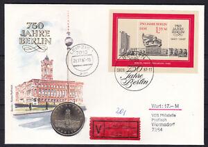 DDR-Numisbrief-Wertbrief-5-DM-Coin-Let-1987-Rotes-Rathaus-VEB-Leipzig-gelaufen