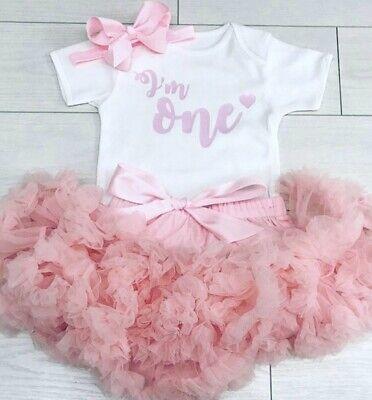 Luxe Baby Girls Premier 1st Anniversaire Tenue Tutu Jupe Rose Blush Gâteau Smash