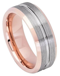 149664347e89a Details about Tungsten Ring Men Women Wedding Band Rose Gold IP Plated Gun  Metal Grooved 8mm